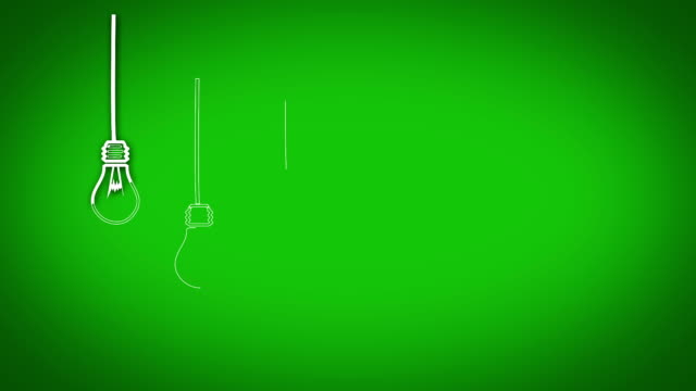 Light bulb graphics appearing in row on green background video