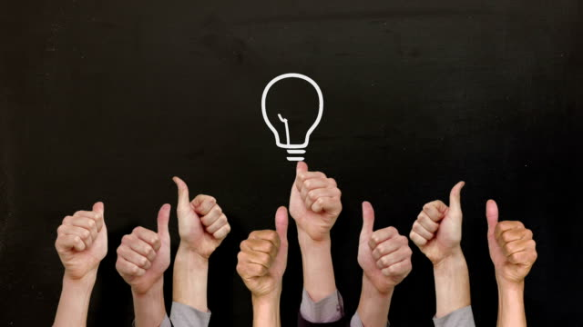 Light bulb with many thumbs up video
