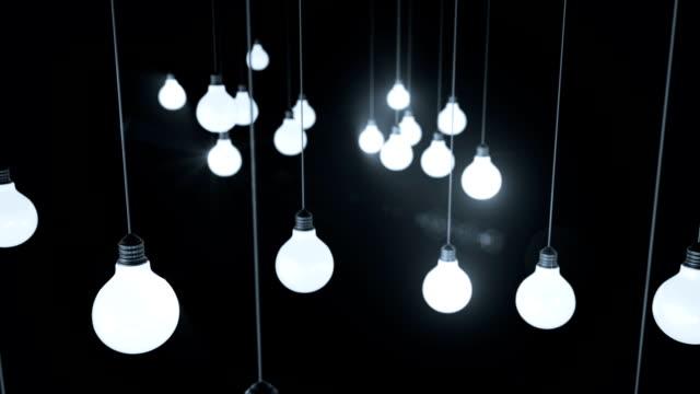 Light bulbs. 3d animation video