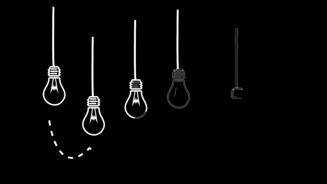 Light bulbs appearing in black and white video