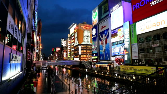 Light displays in Dontonbori Osaka video