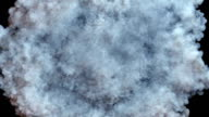 Light gray smoke radial explosion on black video