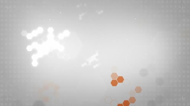 Light Hexagonal Background Loop - Orange On Soft Grey (HD) video