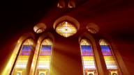 Light rays through stain glass window video