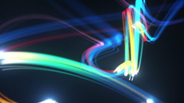 Light Streaks Background Loop - Glowing Rainbow (Full HD) video