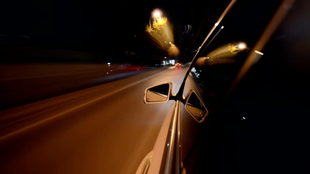 Light view from a car in motion high speed video
