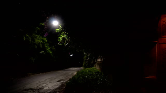 A lighted door in vintage style next to the road on a quiet night.Night panorama video