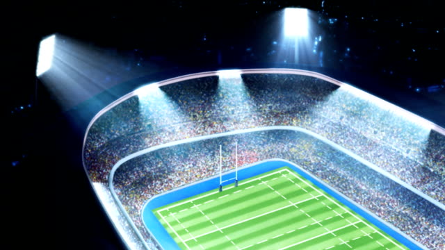 Lighted rugby stadium. video