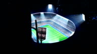 Lighted stadium, rugby arena.  Top view. video
