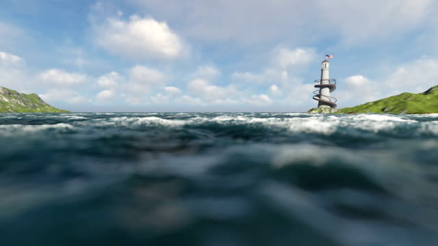 Lighthouse And Ocean Waves Out Of Focuss video