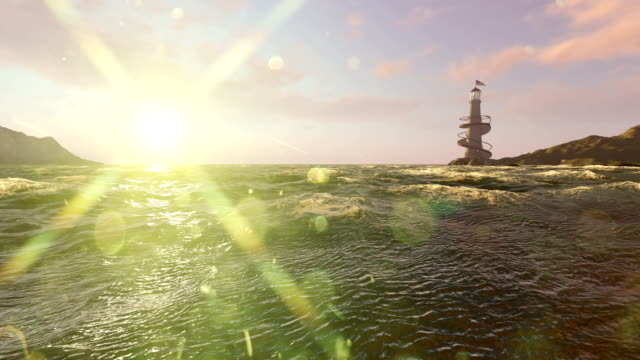 Lighthouse And Sun Flares Calm Scene video