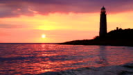 Lighthouse at sunset video