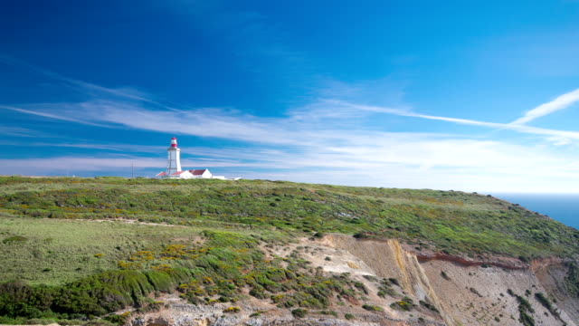 lighthouse of Cape Espichel, view from the temple, Portugal timelapse video