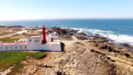 Lighthouse on a cliff near Atlantic Ocean, Sintra, Portugal aerial view video