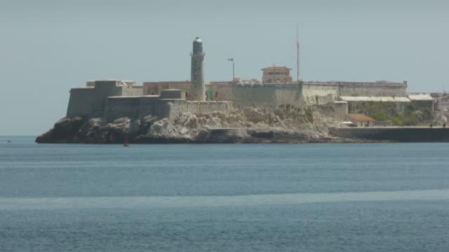 Lighthouse on the bay and sea, Havana, Cuba video
