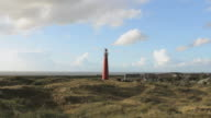 Lighthouse on the island of Schiermonnikoog from the beachside video