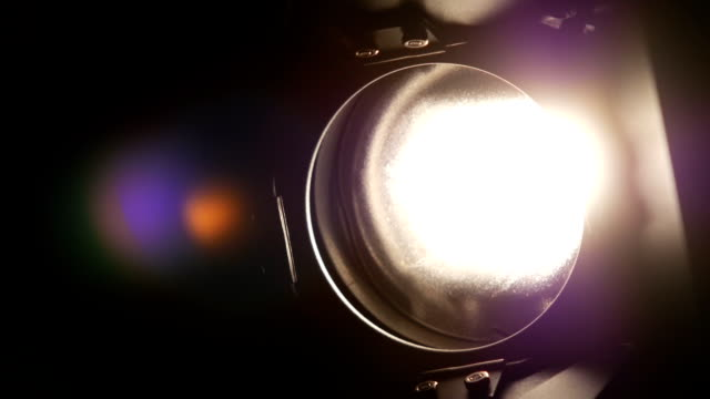 Lighting equipment, flash or spotlight, on and off, black, close up video
