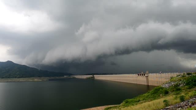 Lightning and thunderstorm over huge dam,soundtrack. video