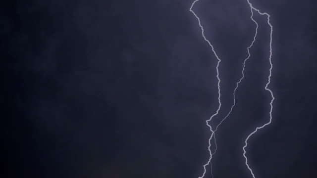 Lightning bolts flicker in dark sky, rain and thunder sounds. Scary thunderstorm video
