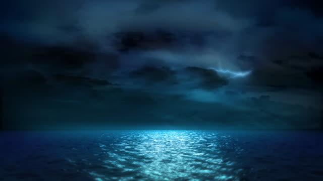 Lightning, Ocean Moonlight and Clouds (Loop) video