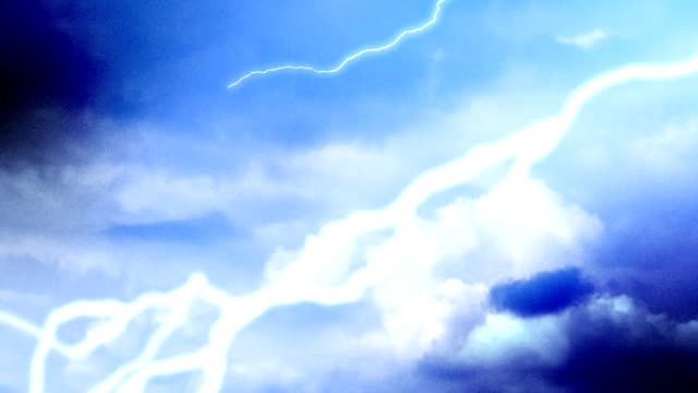 Lightning sequence in blue video