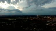 Lightning Storm near Austin produces large Bolt of Lightning filmed with Aerial Drone video