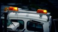 Lights Flashing On Repair Vehicle In Rain video