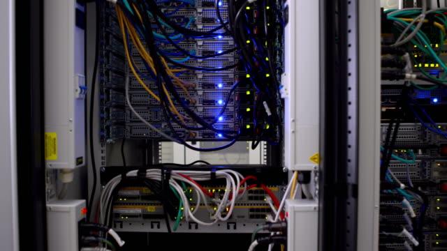 Lights flashing on servers video