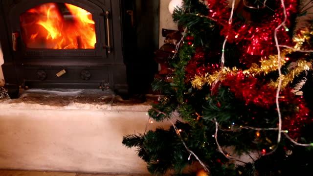 Lights twinkling on christmas tree video
