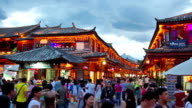 Lijiang old town in the evening with crowd tourist, China. video