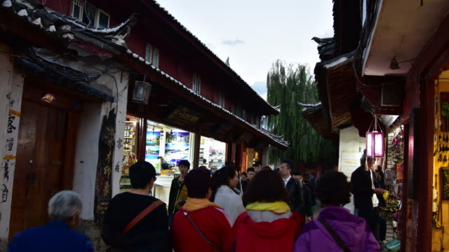 Lijiang old town with crowd tourist, China. video