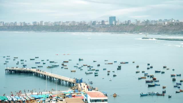 Lima Peru Chorrillos bay cosatline cityscape video