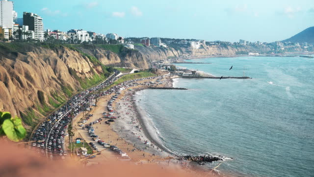 Lima Peru (costa verde) coastline beaches video