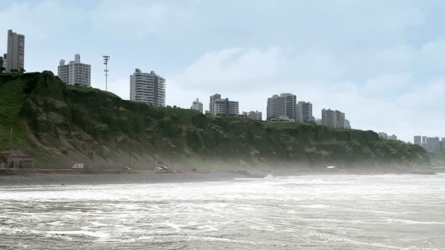 Lima Peru coastline skyline video