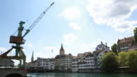 Limat river and Clock tower, Zurich, Switzerland video
