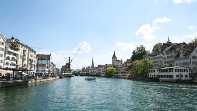 Limat river and Clock tower, Zurich, Switzerland video