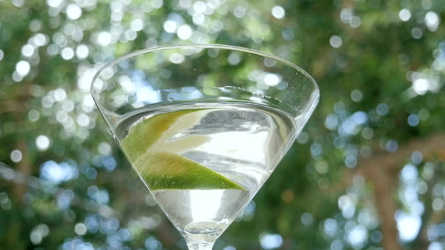 A Lime Drops into a Martini Glass in Slow Motion video