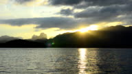 limestone in Cheow Lan lake at sunset, Thailand in winter season video