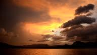 limestone in Cheow Lan lake at sunset, Thailand video