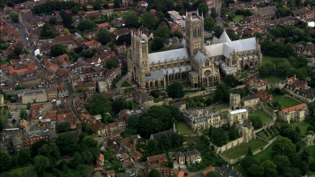 Lincoln Cathedral  - Aerial View - England, Lincolnshire, Lincoln District, United Kingdom video