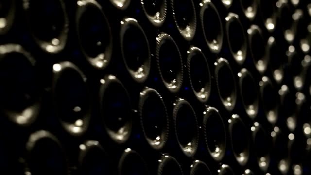 A line expensive wine bottles in wine cellar video