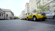 A line of Taxi Cabs await passengers in New York City. video