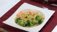 Linguini Shrimp & Broccoli HD video