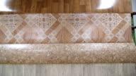 Linoleum rolls in showroom of flooring store video
