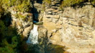 Linville Falls, NC from Above on Sunny Autumn Day video