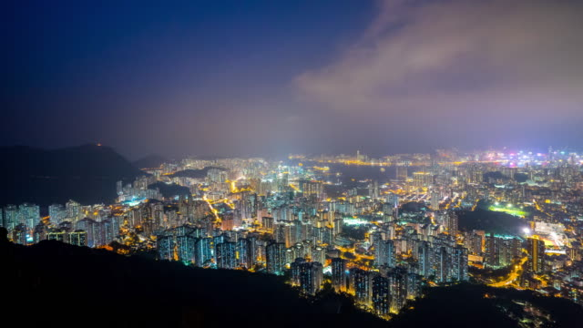 Lion rock view point, Night city scape of Hong kong city video