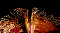 Liquid Splash. Alcohol, Tea, Cola. Super Slow motion. video