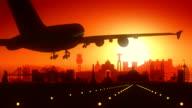 Lisbon Airplane Landing Skyline Golden Background video