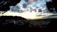 lisbon city in portugal timelapse at sunset at sunrise video
