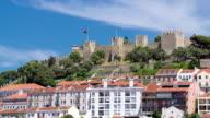 Lisbon fortress of Saint George view, Portugal Castelo de Sao Jorge, timelapse video